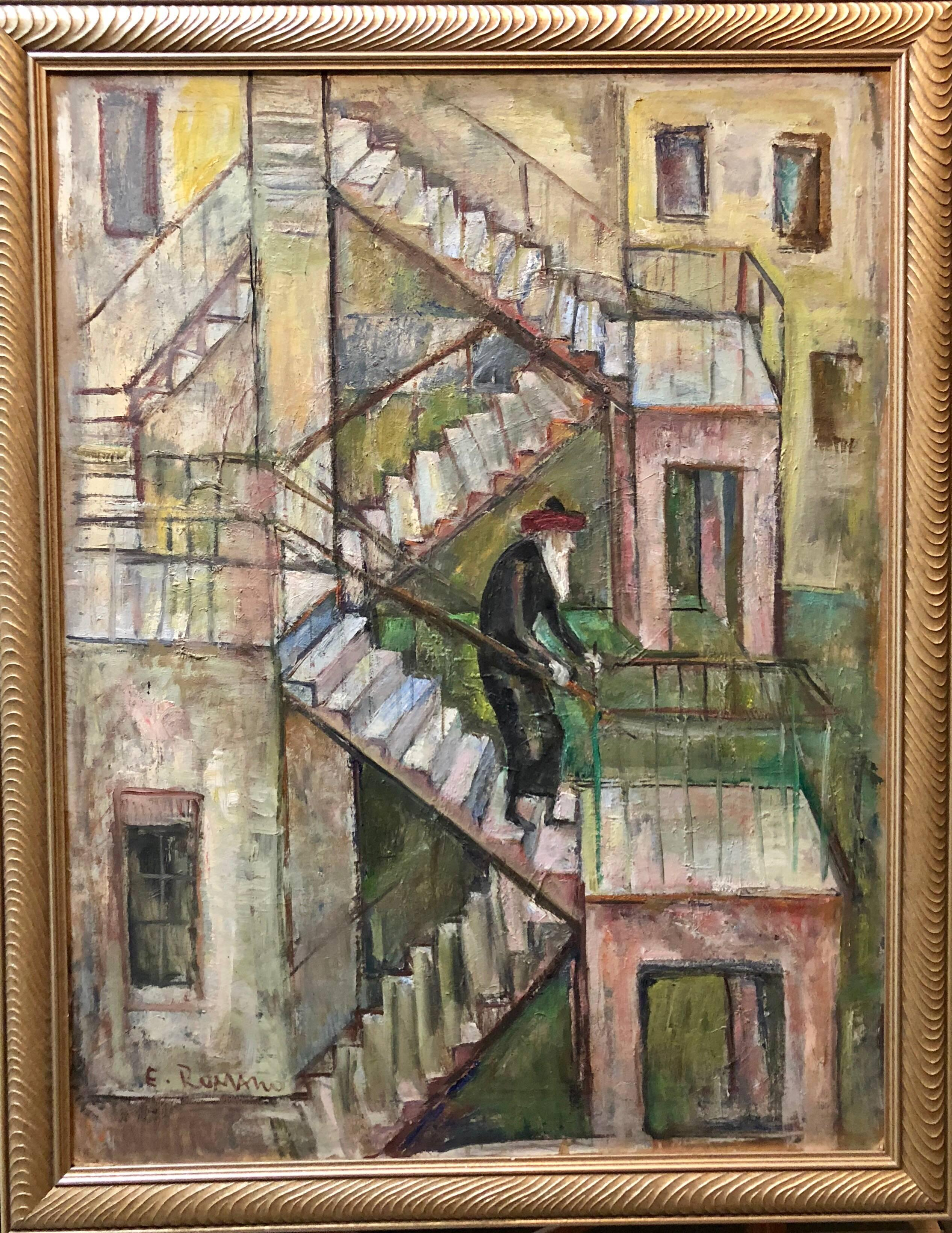 Large Modernist Oil Painting 1940s, Judaica Hasidic rabbi in Jerusalem