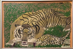 Le Tigre Decapite Le Jaguar, Large Wild Animal Israeli Naive Art Oil Painting