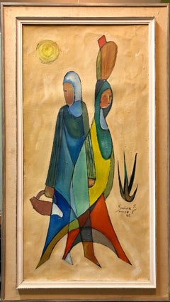 Large Modernist 1960s Israeli Cubist Figures Oil Painting Ruth & Naomi