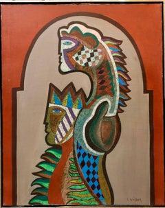Surrealist Woman Oil painting French-Moroccan Israeli Bezalel School Painter