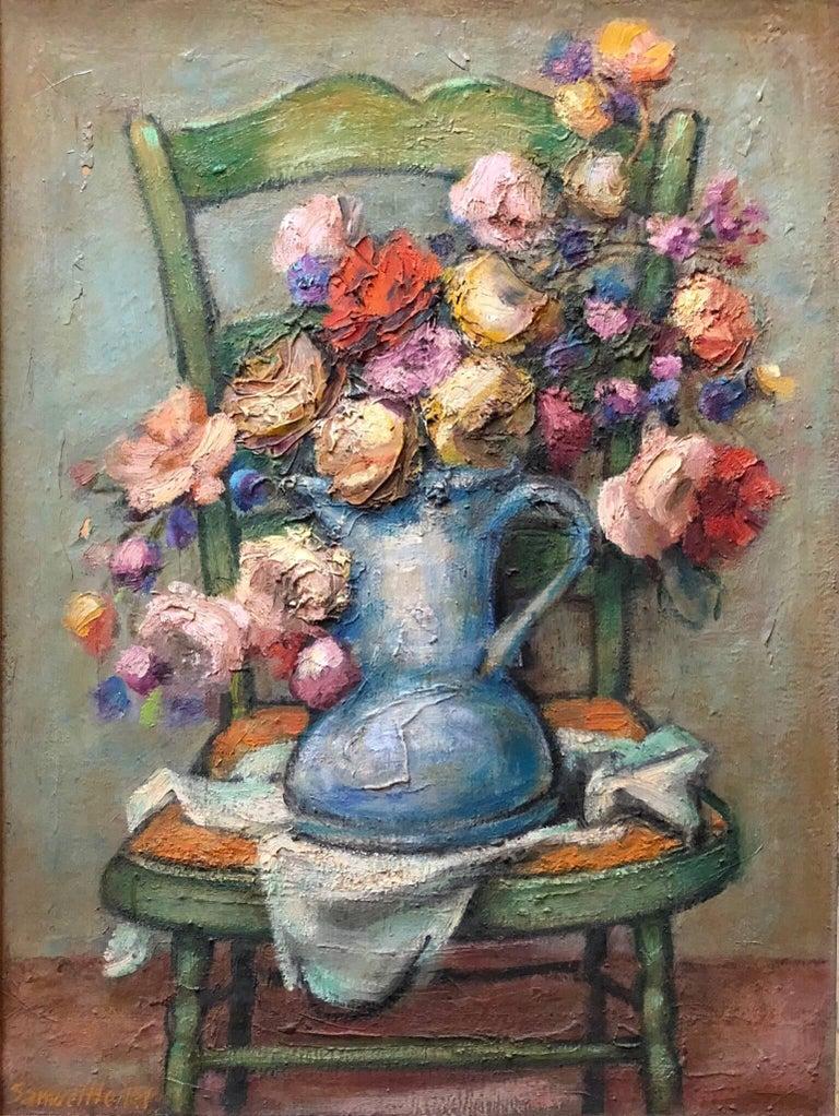 Samuel Heller Figurative Painting - Mid century Post Impressionist Floral Oil Painting