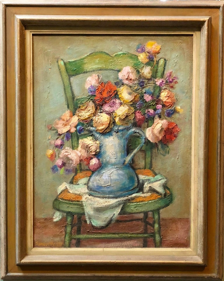 Mid century Post Impressionist Floral Oil Painting - Brown Figurative Painting by Samuel Heller