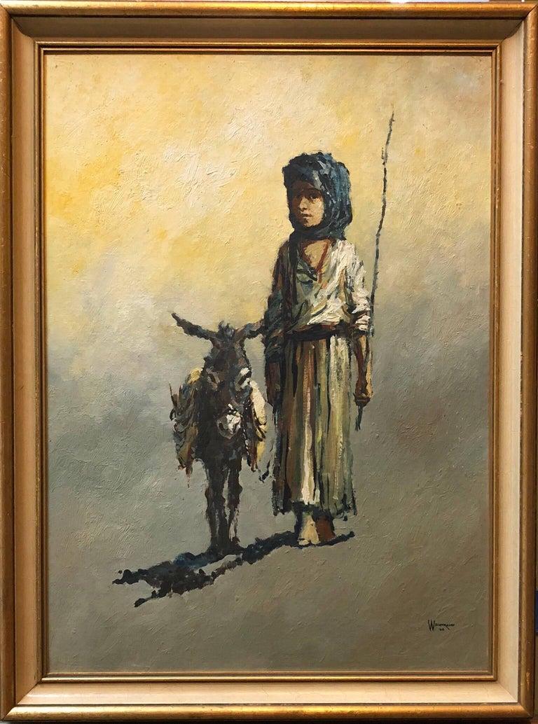 The Shepard Boy, Modern Mid-Century Israeli Painting - Brown Figurative Painting by William Weintraub