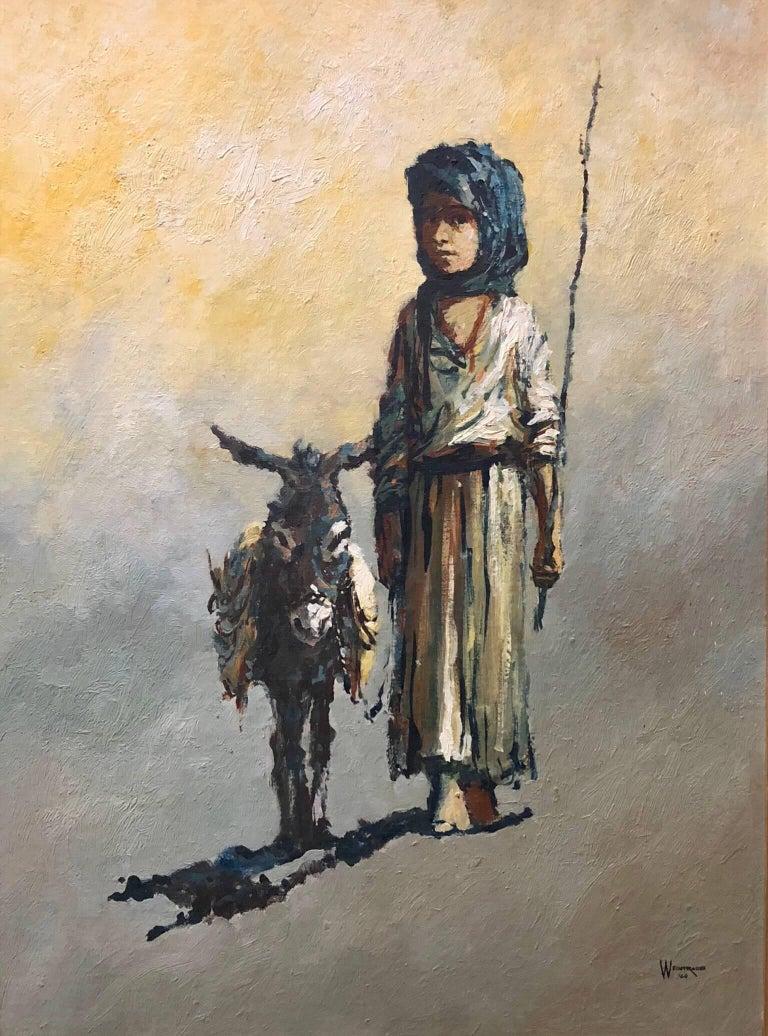William Weintraub Figurative Painting - The Shepard Boy, Modern Mid-Century Israeli Painting
