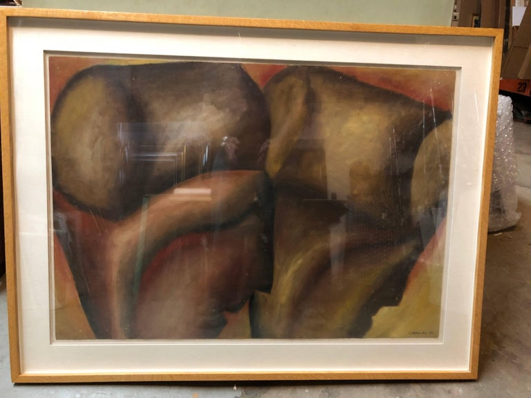 Large Modernist Italian Oil Painting Surrealist Abstract Figures For Sale 1