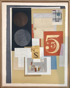 Abstract Cubist Composition Collage Gilt Stencilled Letters Numbers Assemblage