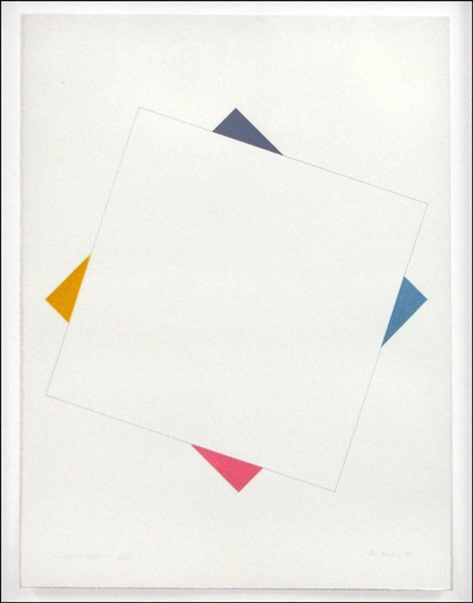 "British Modern ""FOUR CORNERS II"" Abstract Geometric Minimalist Gouache Painting"