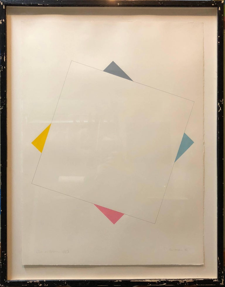 Richard Allen (1933 – 1999) was a British Minimalist, Abstract, Systems, Fundamental, and Geometric painter and printmaker. During the winter of 2016/2017 Tate Britain exhibited its Richard Allen work, Six Panel Systems Painting (1972), in a BP