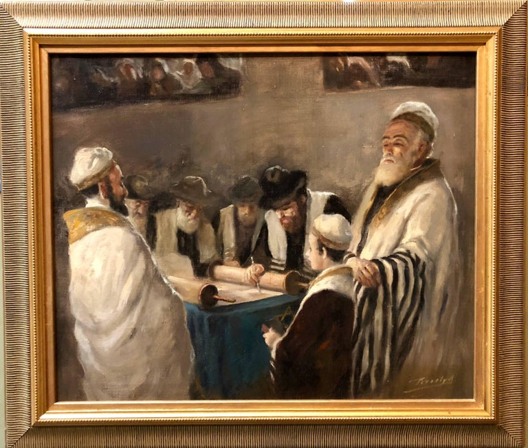 Rare Hungarian BAR MITZVAH boy at Torah with Rabbi Judaica Oil Painting