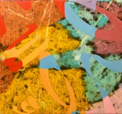 Colorful SYMBOLS & SOUNDS Abstract Expressionist Mixed Media Painting