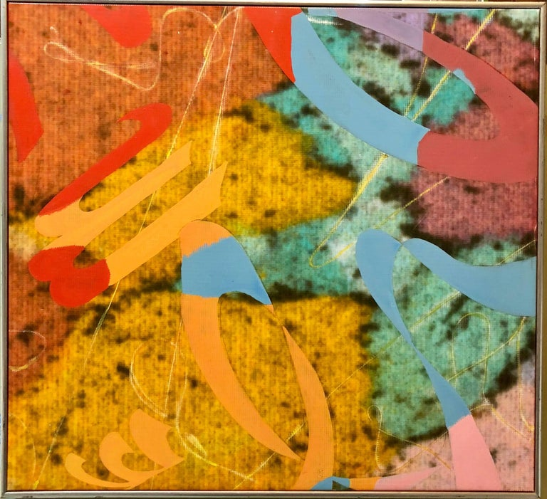 Not quite sure of the medium. it is a stretched canvas like material with overpainting and some sort of possible photo based process. it is a unique mixed media piece. Dorothy Gillespie (June 29, 1920 – September 30, 2012) was an American artist and