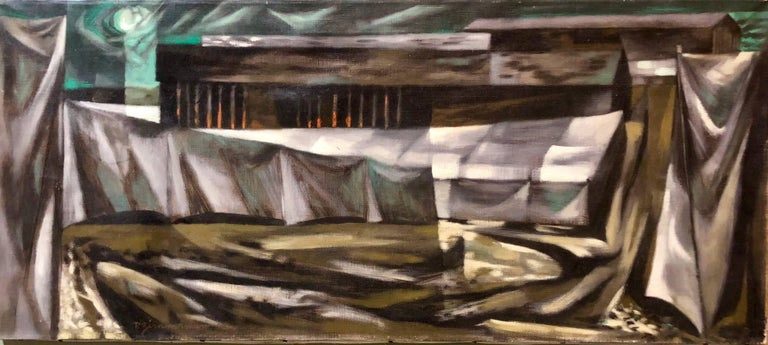 Social Realist Street Scene Modernist Landscape Oil Painting