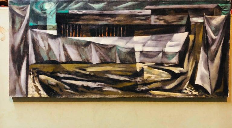 Social Realist Street Scene Modernist Landscape Oil Painting - Black Figurative Painting by Paul Zimmerman