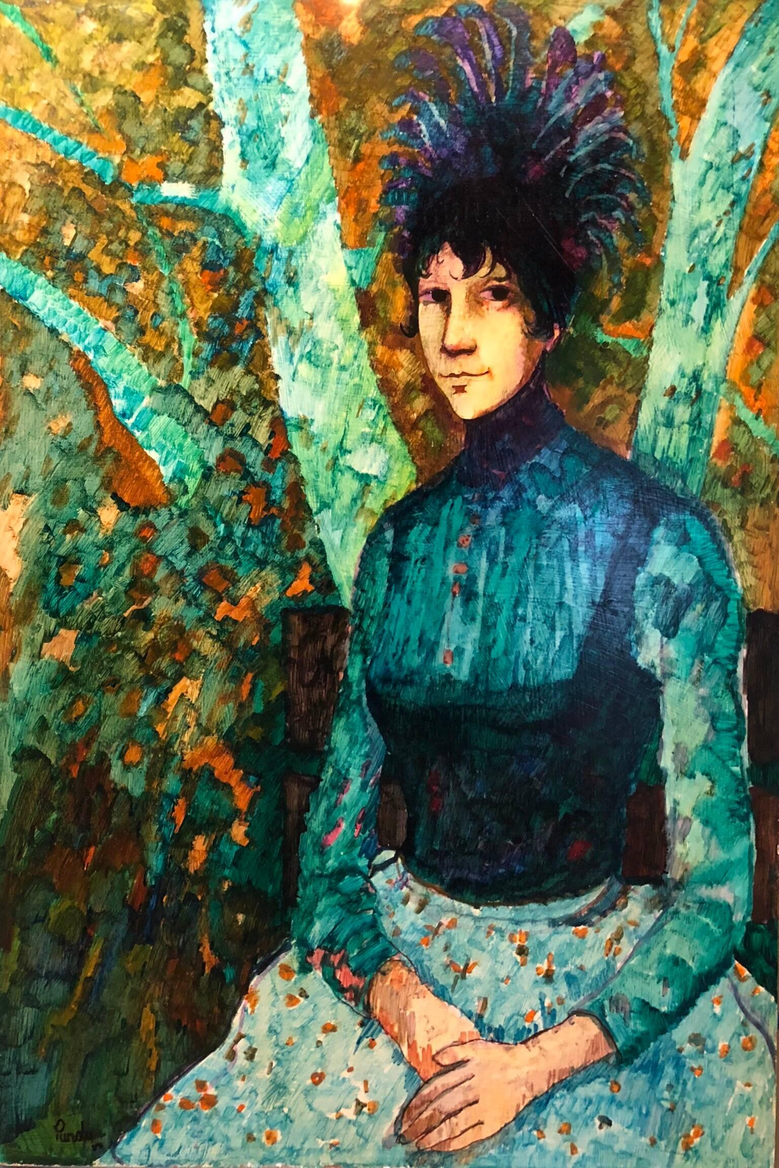 Modernist WILD THING Woman in Forest Oil Painting