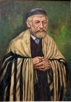 Rare Modernist Judaica Scholar Rabbi in Synagogue Oil Painting Signed Mora