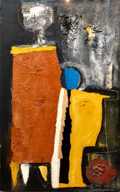 Latin American Figurative Abstract Expressionist Cuban Oil Painting