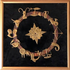French Art Deco Mounted Zodiac Sculpture Wall Hanging Welded Figures