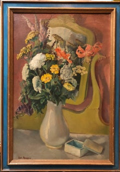 VASE WITH FLOWERS IN THE MIRROR Modernist Oil Painting