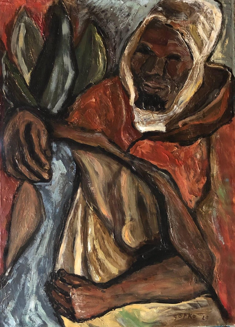 Berber Man, Arab with Head Covering 1929 Modernist Oil Painting - Brown Figurative Painting by Jacques Gotko