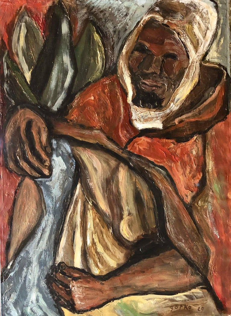 Jacques Gotko Figurative Painting - Berber Man, Arab with Head Covering 1929 Modernist Oil Painting