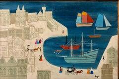 City with Harbor Scene, Folk Art Naive Oil on Canvas