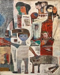 Large 1950s Israeli Modernist Oil Painting