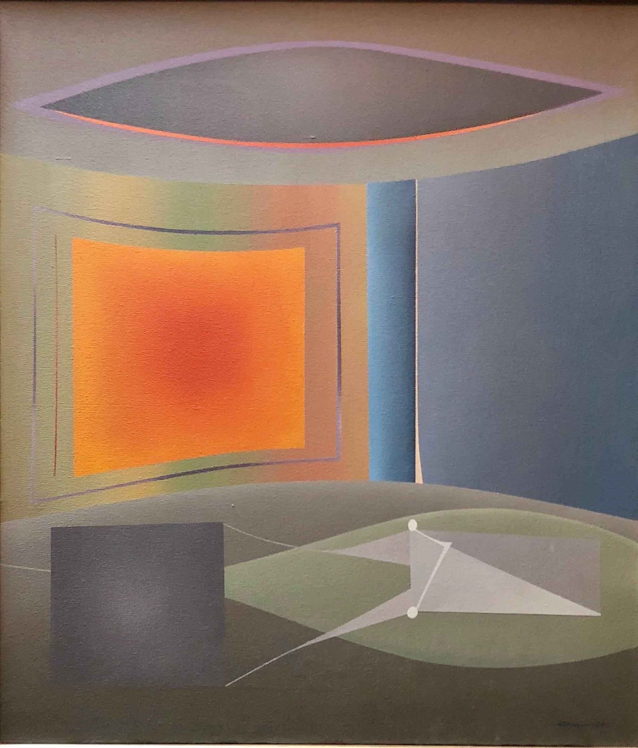 Abstract Geometric Italian Futurist Oil Painting Galleria Schneider Stamp