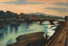 Large Modernist Oil Painting Bridge over the Water Landscape