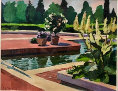 Botanic Garden II, Modernist Oil Painting Pool With Flowers and Garden