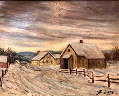 Polish Modernist Village landscape in the Snow Oil Painting