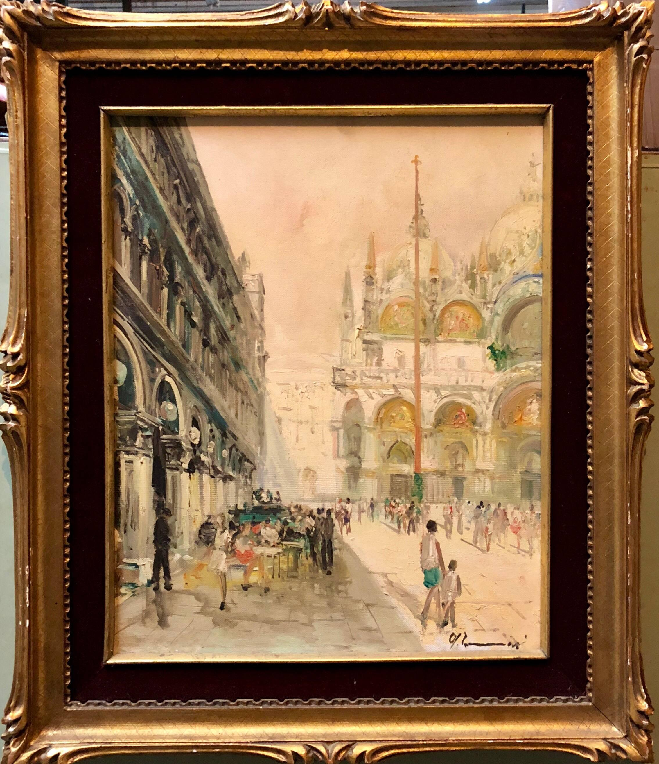 View of San Marco Piazza, Venezia Italian Oil Painting