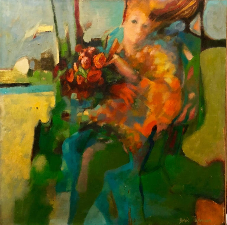 Doris Turner Figurative Painting - Autumn Wind, Large American Modernist Oil Painting Woman with Flowers