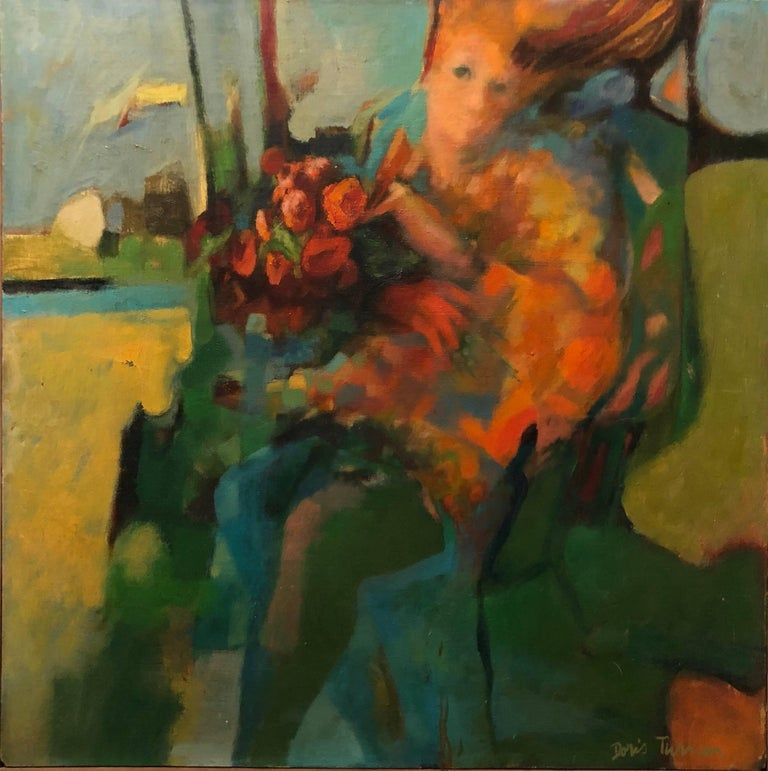 Autumn Wind, Large American Modernist Oil Painting Woman with Flowers - Brown Figurative Painting by Doris Turner