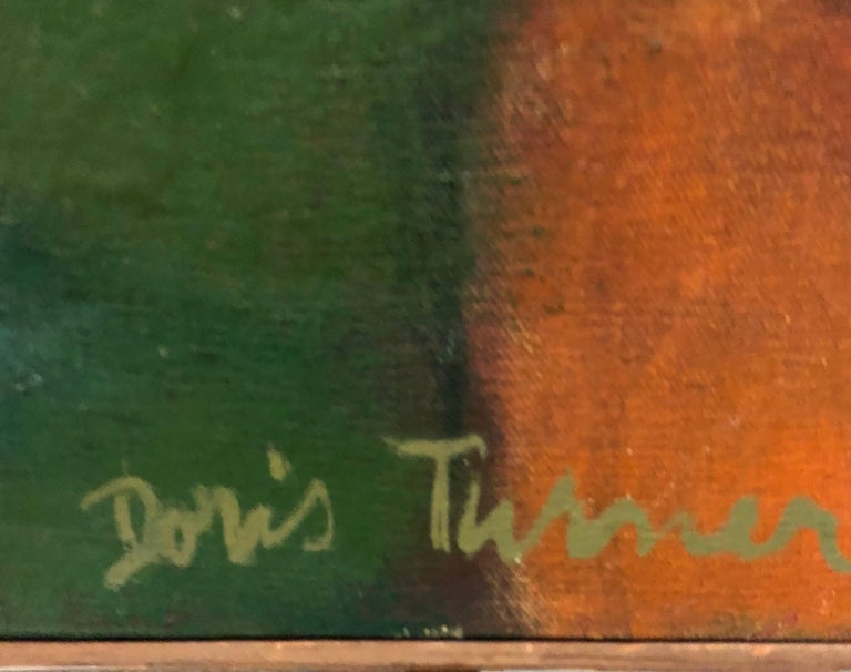 Nice American Modernist Oil Painting. with old label verso. not dated but estimating it to the 70s. Not sure which Doris turner this is. reminiscent to many of the French artists showing at Wally Findlay galleries in that period.
