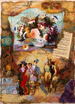 Rare Original Mixed Media Collage Painting Musical Belle Epoque Composition