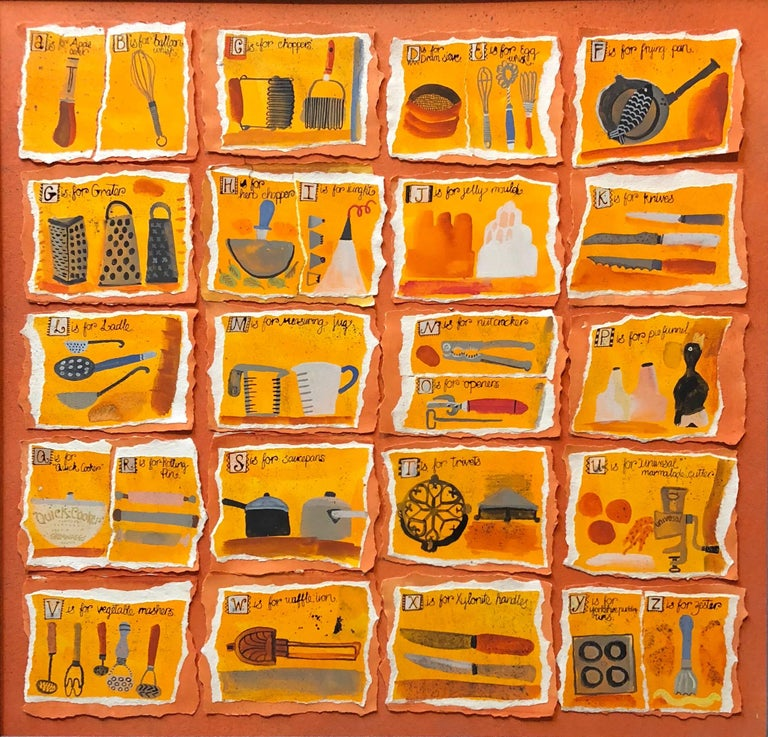 Housewives Choice, A-Z Alphabet Sampler Mixed Media Painting Collage - Orange Figurative Painting by Christine McArthur