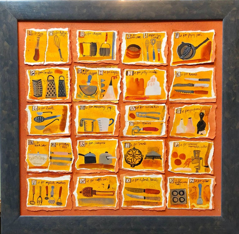 Christine McArthur Figurative Painting - Housewives Choice, A-Z Alphabet Sampler Mixed Media Painting Collage