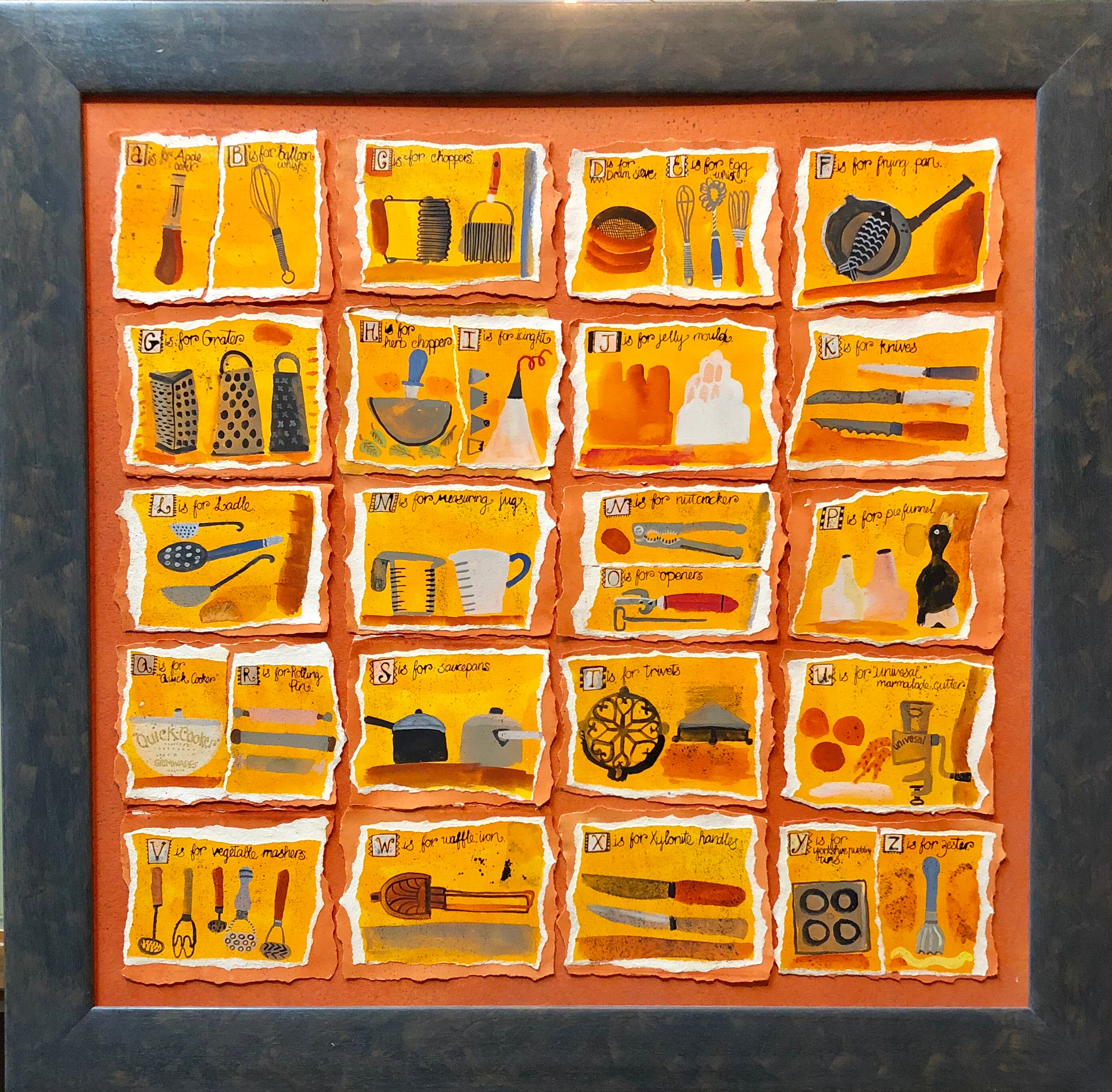 Housewives Choice, A-Z Alphabet Sampler Mixed Media Painting Collage