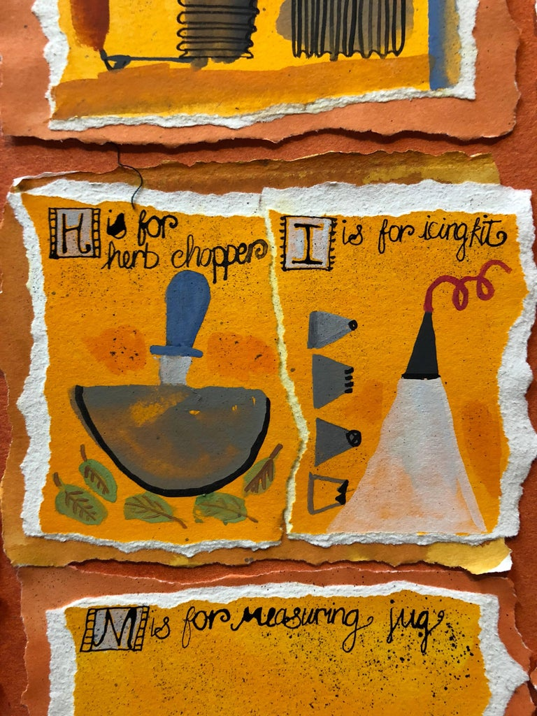 Housewives Choice, A-Z Alphabet Sampler Mixed Media Painting Collage For Sale 3