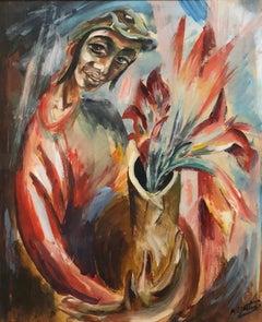 Yemenite Boy Early Israeli Bezalel School Modernist Painting