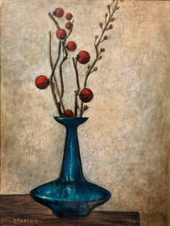 Modernist Floral Arrangement in a Mod Vase 1957 Oil Painting
