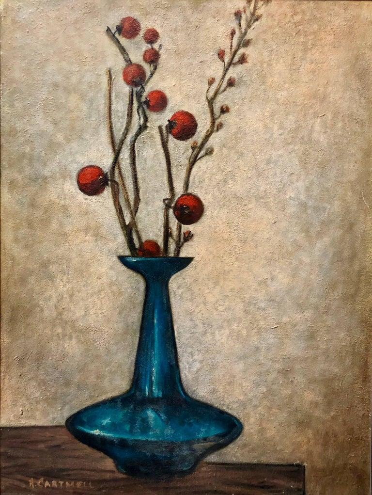 Modernist Floral Arrangement in a Mod Vase 1957 Oil Painting