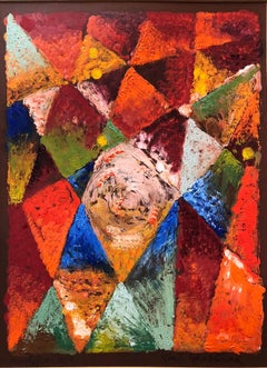 Abstract Geometric Oil Monotype Painting 1966 Chelsea Hotel