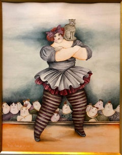 Israeli Surrealist Painting Female Circus Performer Acrobat with Cat