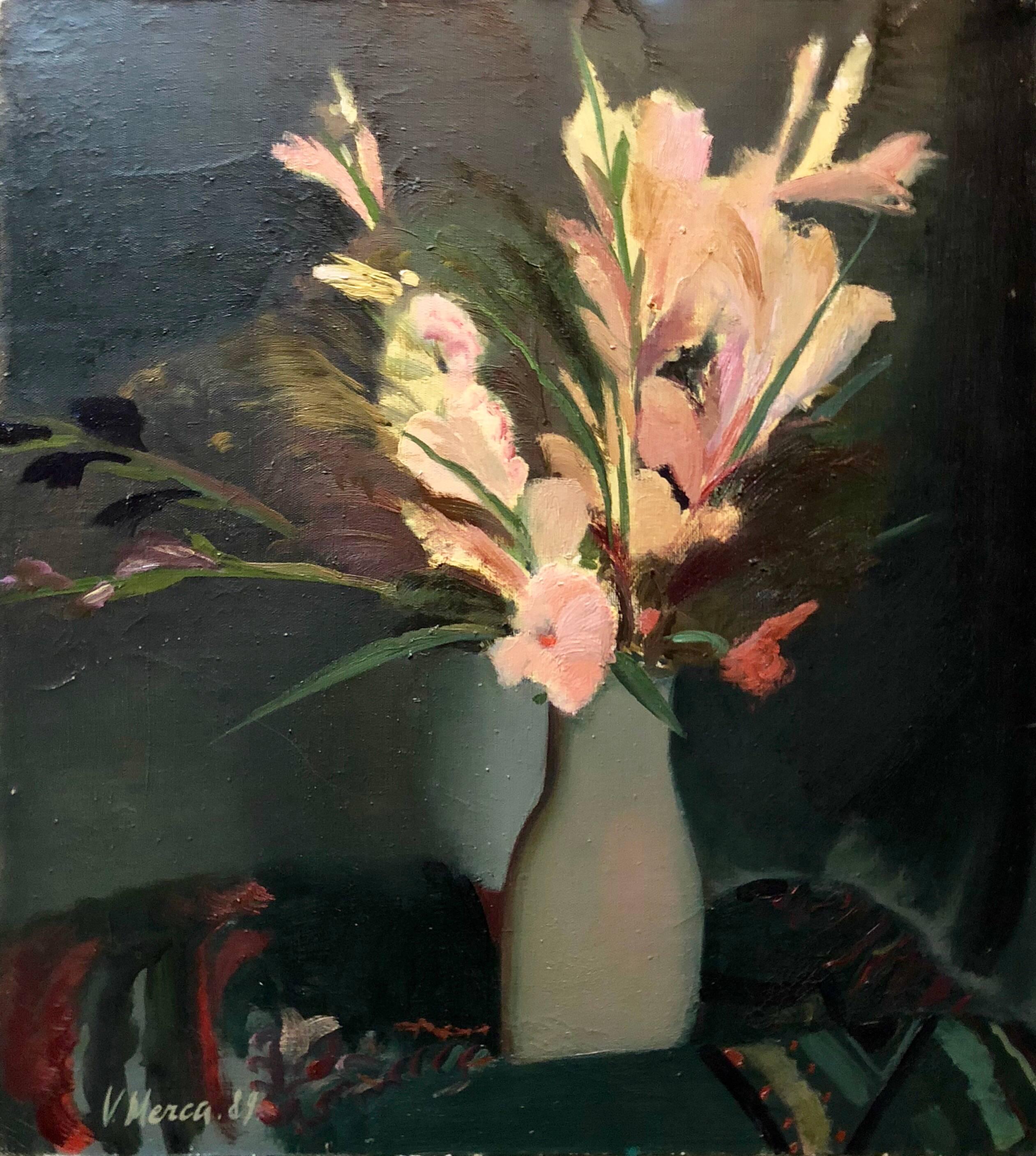 Bouquet of Flowers Latvian Modernist Floral Oil Painting