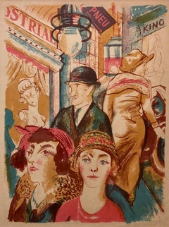 Czech Street Scene, Kino, Couples Shopping Weimar Era 1929 Lithograph