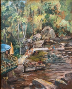Bathers at the Quarry 1940s American Modernist Oil Painting WPA era