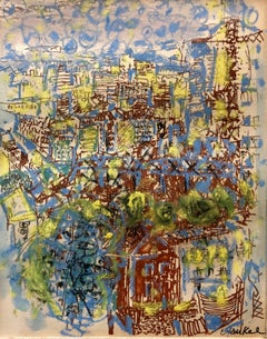 Abstract Expressionist Paris Landscape Painting