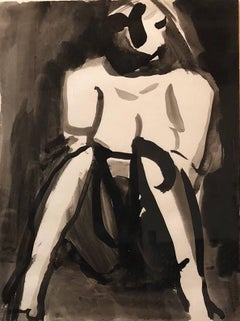 Abstract Figure Study of a Nude Woman Ink Watercolor Painting