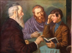 the Rabbi's Cheder Test Hungarian Judaica Oil Painting